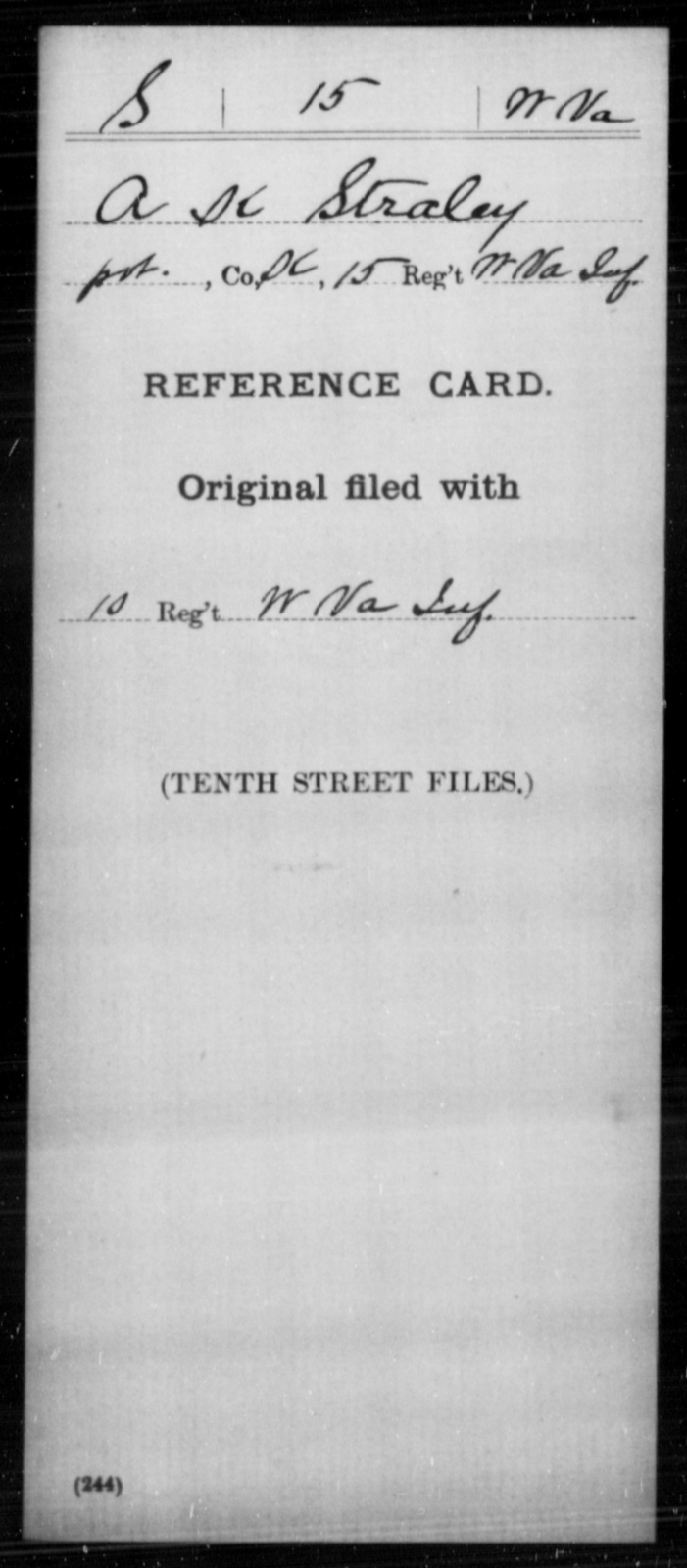 Straley, A K - Age [Blank], Year: [Blank] - Miscellaneous Card Abstracts of Records - West Virginia