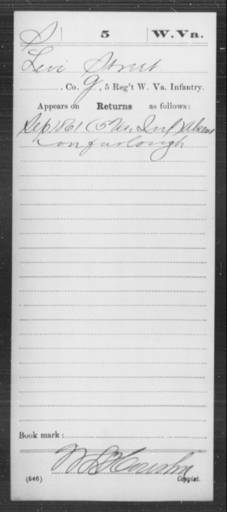 Street, Levi - Age [Blank], Year: 1861 - Miscellaneous Card Abstracts of Records - West Virginia