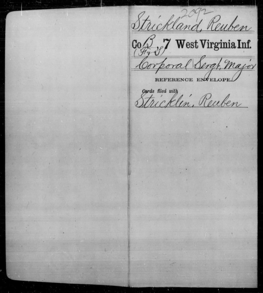 Strickland, Reuben - Age [Blank], Year: [Blank] - Seventh Infantry - West Virginia