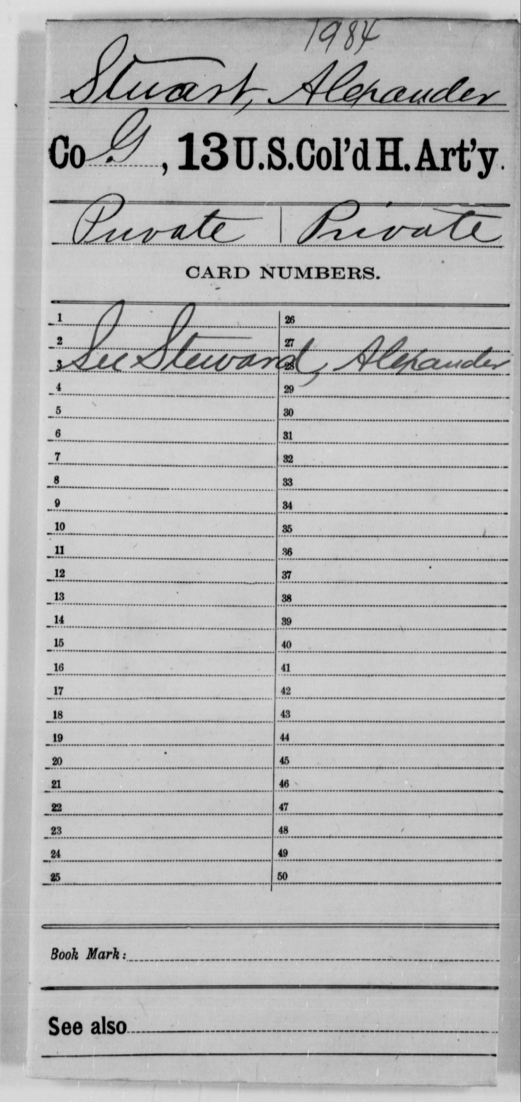 Stuart, Alexander - Age [Blank], Year: [Blank] - 13th US Colored Heavy Artillery - United States Colored Troops: Artillery Organizations