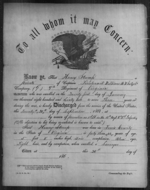 Stump, Henry - Age 62, Year: 1863 - Personal Papers Arranged by Organizations - West Virginia