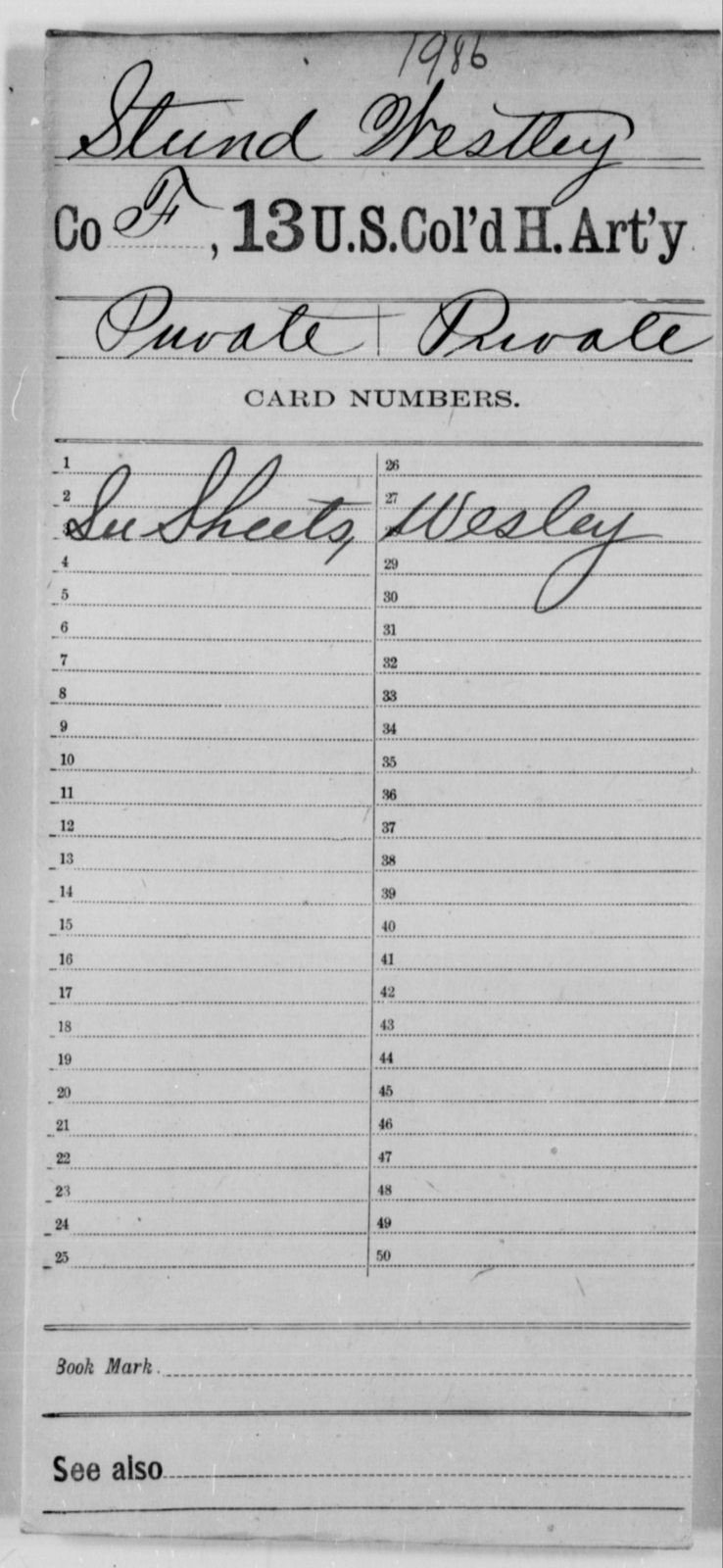 Stund, Westley - Age [Blank], Year: [Blank] - 13th US Colored Heavy Artillery - United States Colored Troops: Artillery Organizations