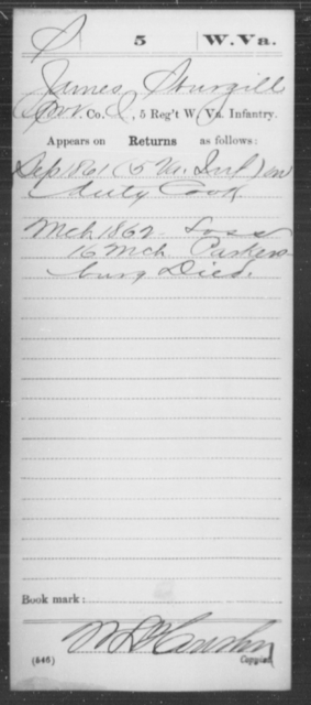 Sturgill, James - Age [Blank], Year: 1861 - Miscellaneous Card Abstracts of Records - West Virginia