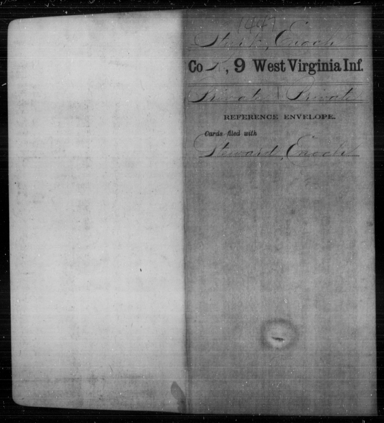 Sturt, Enoch - Age [Blank], Year: [Blank] - Ninth Infantry - West Virginia
