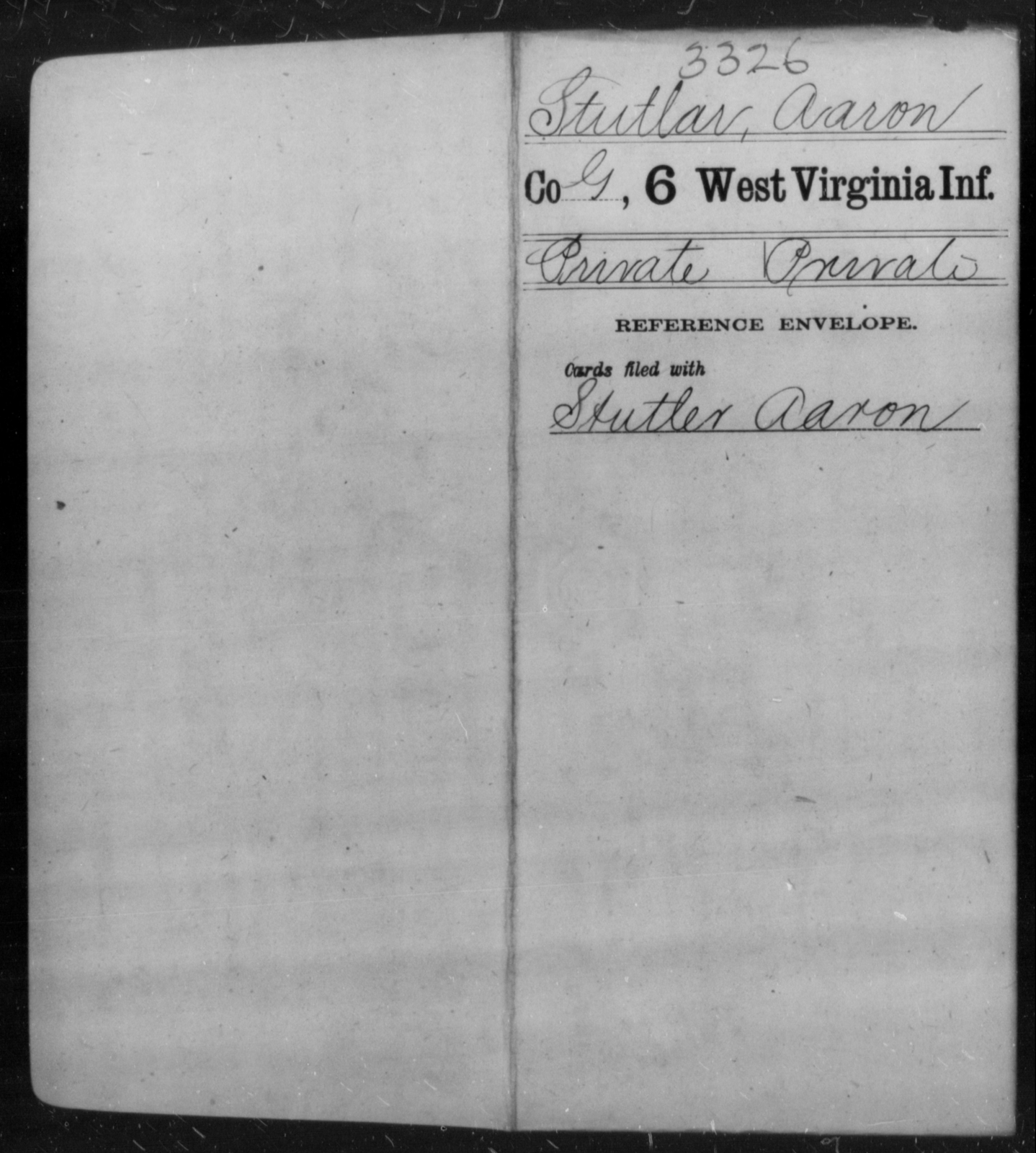 Stutlar, Aaron - Age [Blank], Year: [Blank] - Sixth Infantry - West Virginia
