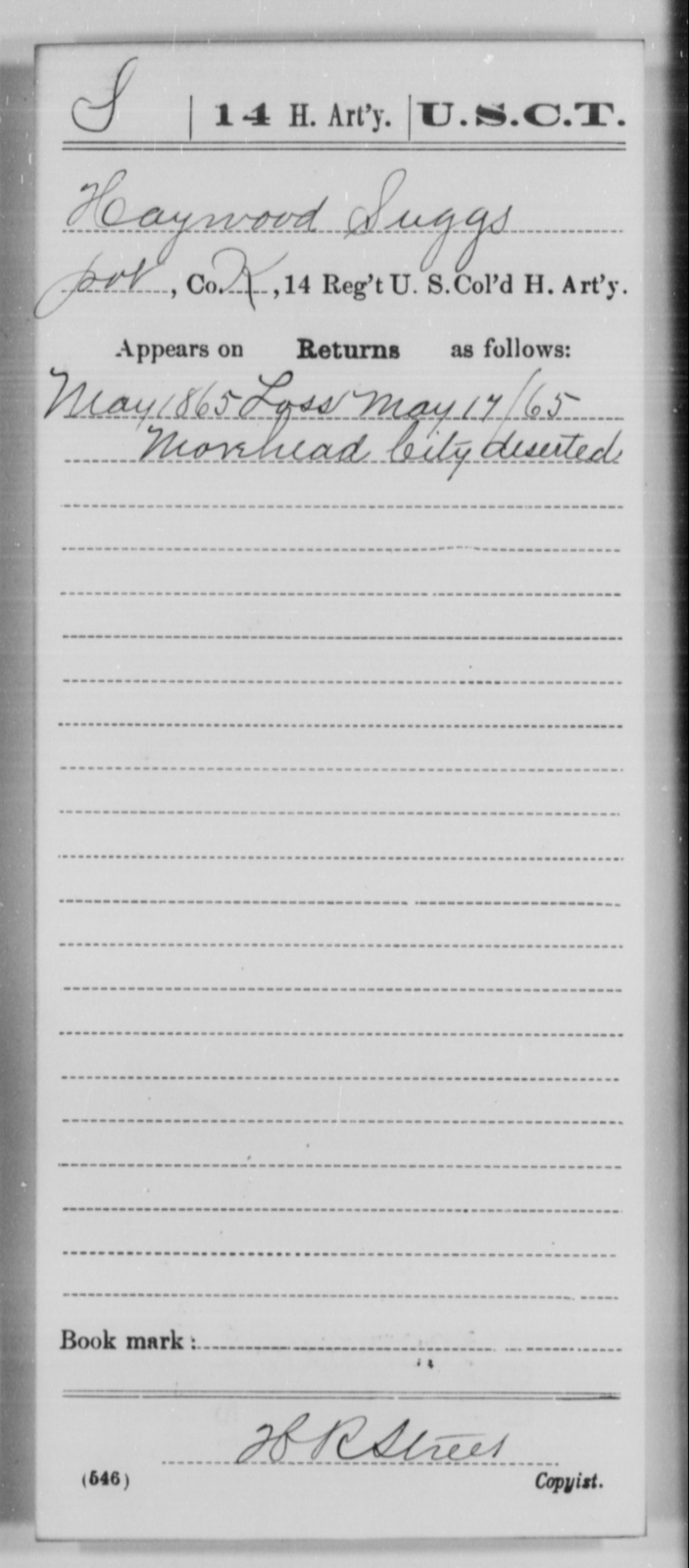 Suggs, Haywood - Age [Blank], Year: 1865 - 14th US Colored Heavy Artillery, Wi-Y AND Misc Cards - United States Colored Troops: Artillery Organizations