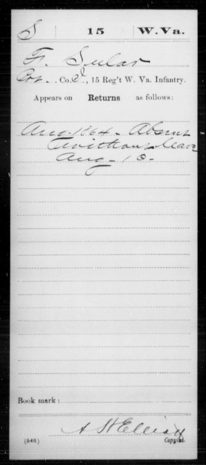 Sular, F - Age [Blank], Year: 1864 - Miscellaneous Card Abstracts of Records - West Virginia
