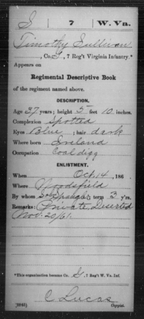 Sullivan, Timothy - Age 37, Year: 1861 - Miscellaneous Card Abstracts of Records - West Virginia
