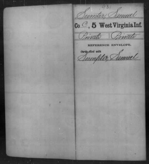 Sumter, Samuel - Age [Blank], Year: [Blank] - Fifth Infantry - West Virginia