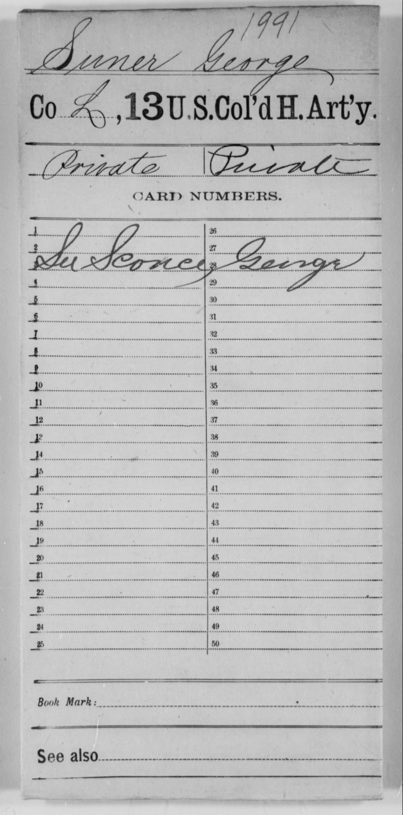 Suner, George - Age [Blank], Year: [Blank] - 13th US Colored Heavy Artillery - United States Colored Troops: Artillery Organizations