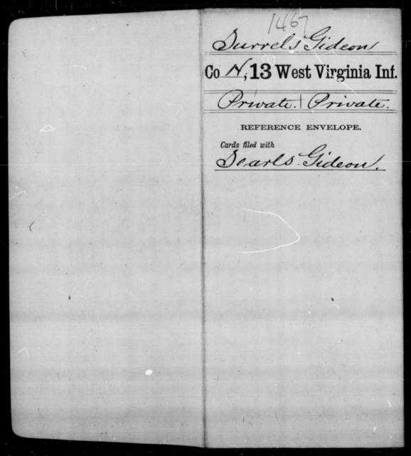 Surrels, Gideon - Age [Blank], Year: [Blank] - Thirteenth Infantry, A-W - West Virginia