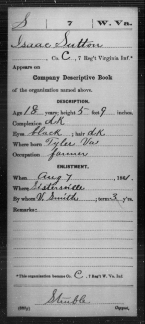 Sutton, Isaac - Age 18, Year: 1861 - Miscellaneous Card Abstracts of Records - West Virginia