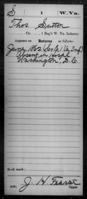 Sutton, Thos - Age [Blank], Year: 1862 - Miscellaneous Card Abstracts of Records - West Virginia