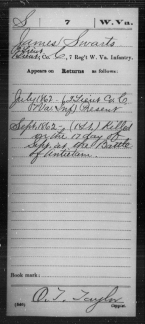 Swarts, James - Age [Blank], Year: 1862 - Miscellaneous Card Abstracts of Records - West Virginia