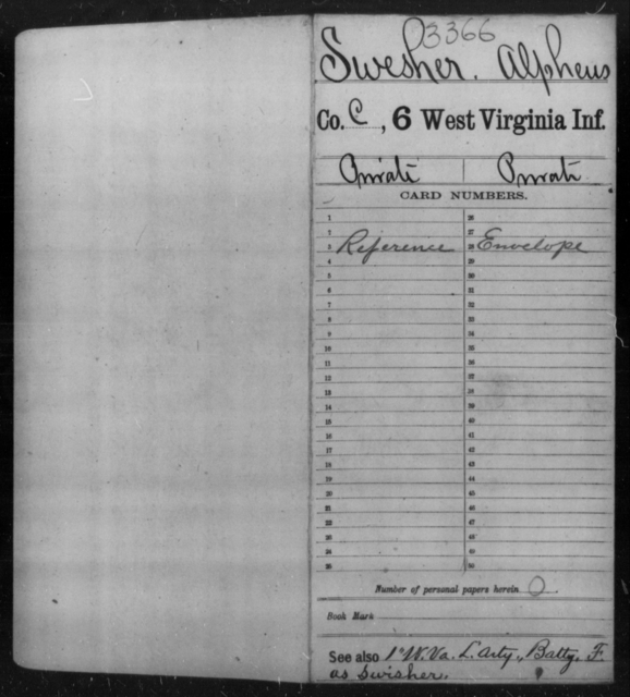 Swesher, Alpheus - Age [Blank], Year: [Blank] - Sixth Infantry - West Virginia