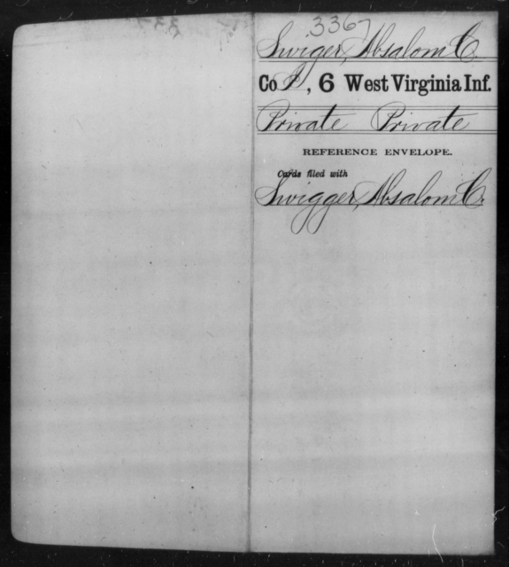Swiger, Absalom C - Age [Blank], Year: [Blank] - Sixth Infantry - West Virginia