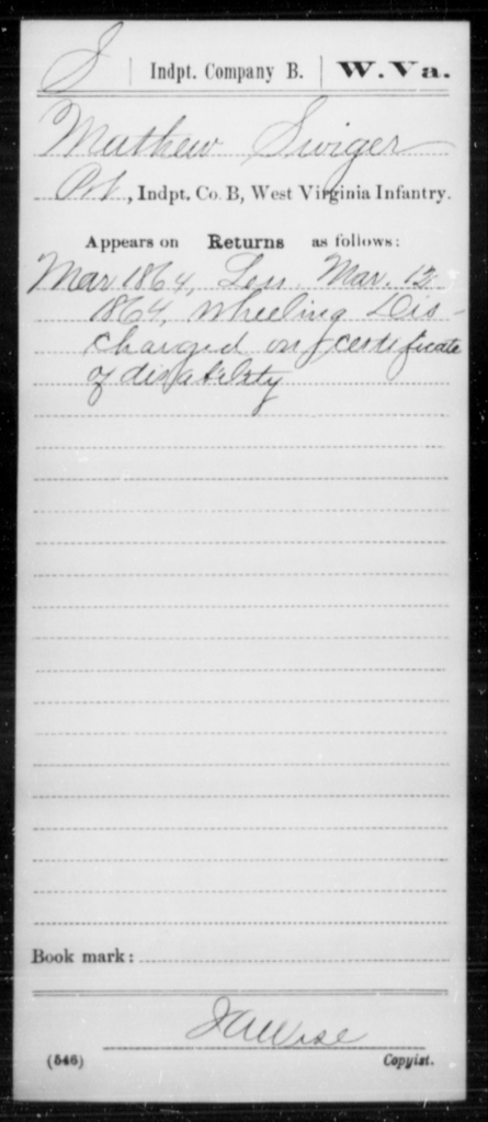 Swiger, Mathew - Age [Blank], Year: 1864 - Miscellaneous Card Abstracts of Records - West Virginia