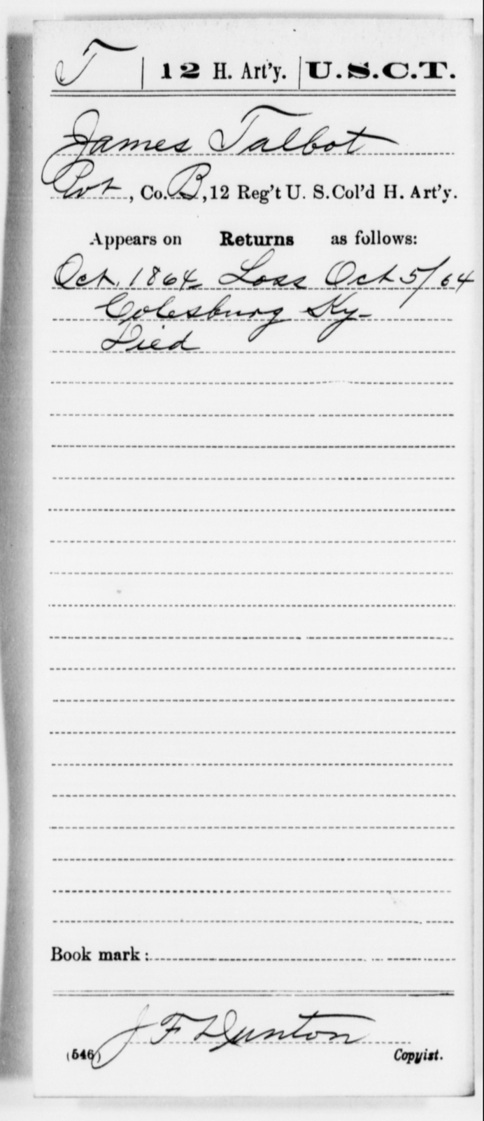 Talbot, James - Age [Blank], Year: 1864 - 12th US Colored Heavy Artillery, Misc Cards, H-Y - United States Colored Troops: Artillery Organizations