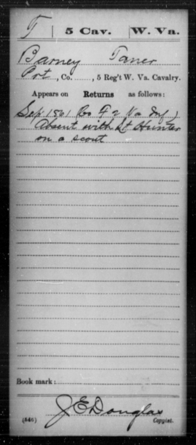 Taner, Barney - Age [Blank], Year: 1861 - Miscellaneous Card Abstracts of Records - West Virginia