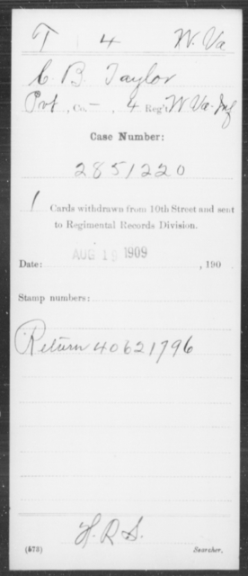 Taylor, C B - Age [Blank], Year: [Blank] - Miscellaneous Card Abstracts of Records - West Virginia