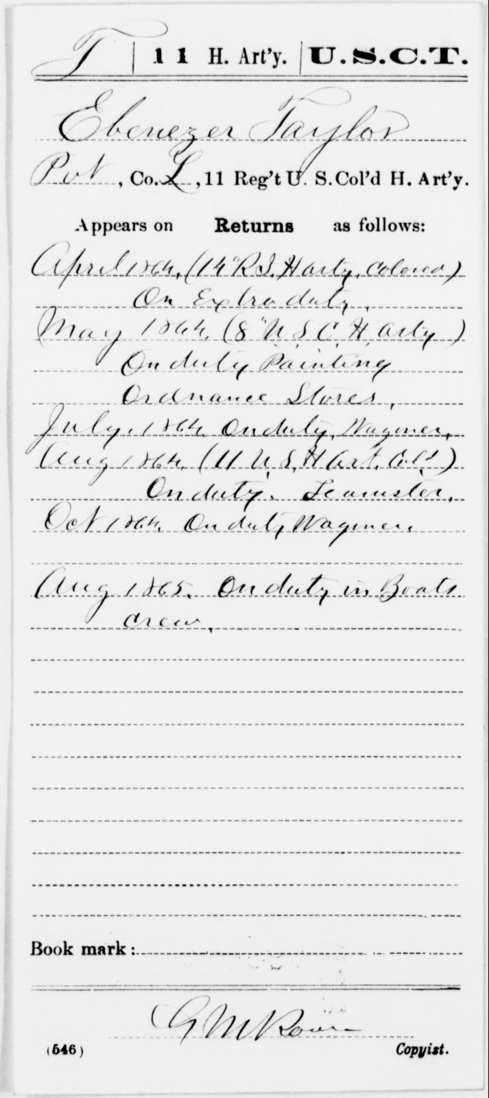 Taylor, Ebenezer - Age [Blank], Year: 1864 - 11th US Colored Heavy Artillery, Misc Cards, E-Y - United States Colored Troops: Artillery Organizations