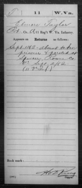 Taylor, Elmore - Age [Blank], Year: 1862 - Miscellaneous Card Abstracts of Records - West Virginia