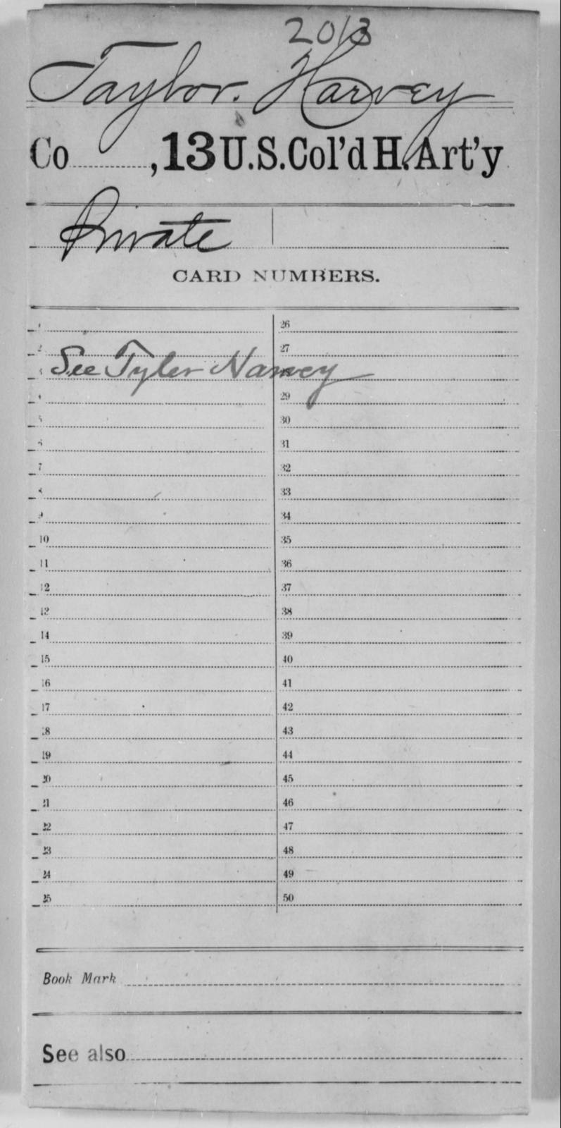 Taylor, Harvey - Age [Blank], Year: [Blank] - 13th US Colored Heavy Artillery - United States Colored Troops: Artillery Organizations