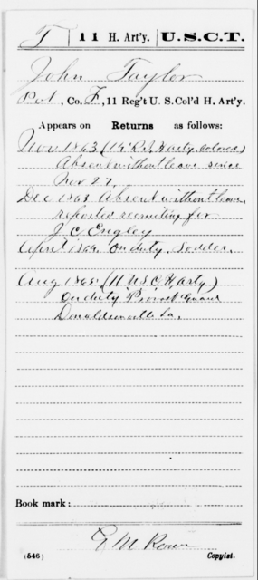 Taylor, John - Age [Blank], Year: 1863 - 11th US Colored Heavy Artillery, Misc Cards, E-Y - United States Colored Troops: Artillery Organizations