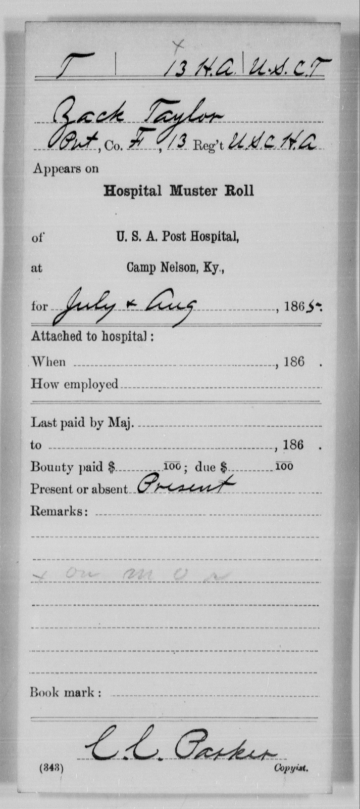 Taylor, Zack - Age [Blank], Year: 1865 - 13th US Colored Heavy Artillery, Misc Cards - United States Colored Troops: Artillery Organizations