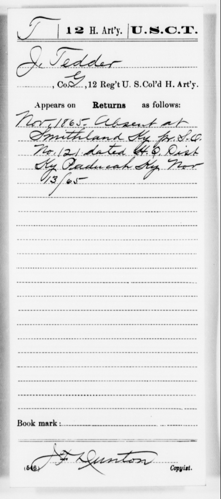 Tedder, J - Age [Blank], Year: 1865 - 12th US Colored Heavy Artillery, Misc Cards, H-Y - United States Colored Troops: Artillery Organizations