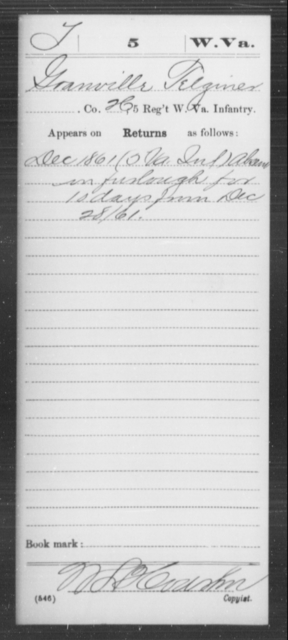 Telginer, Granville - Age [Blank], Year: 1861 - Miscellaneous Card Abstracts of Records - West Virginia