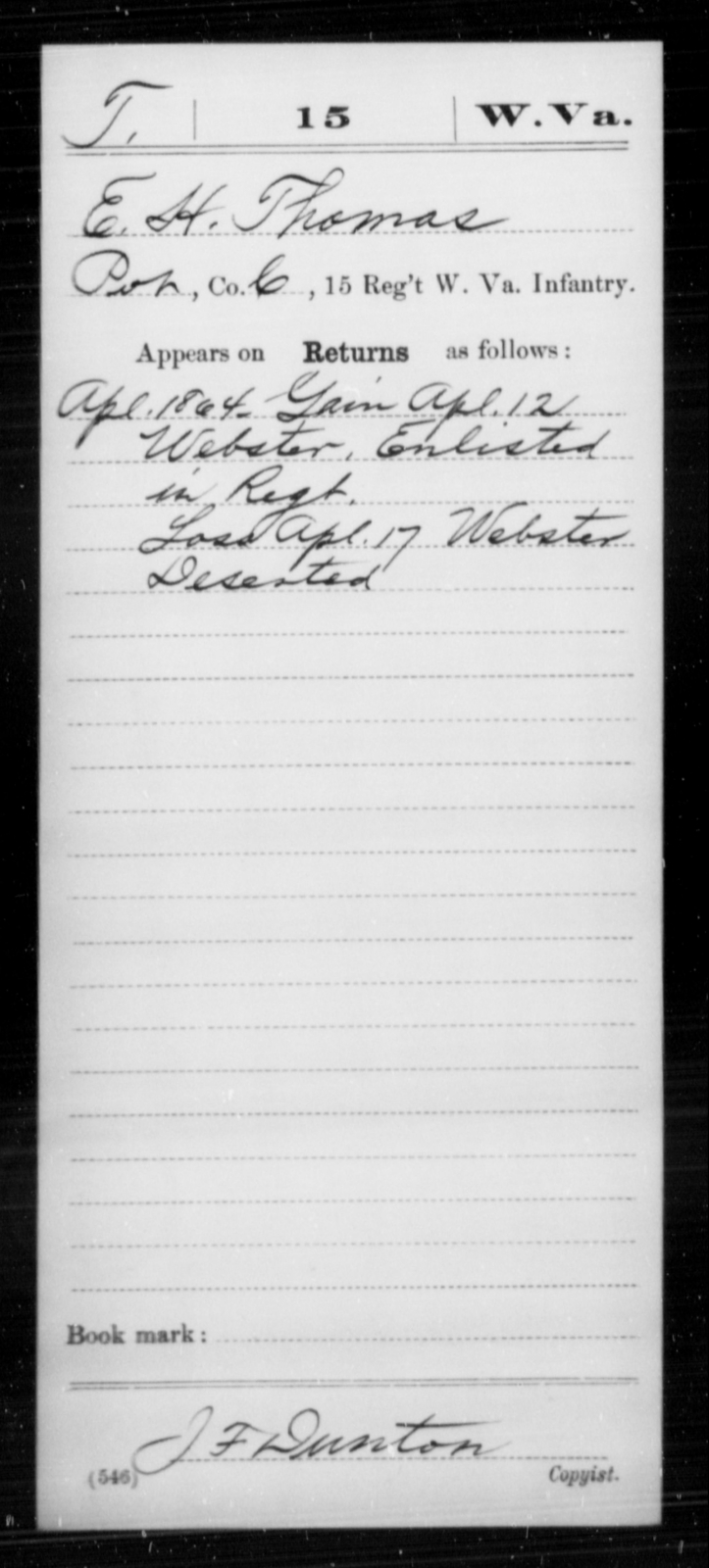 Thomas, E H - Age [Blank], Year: 1864 - Miscellaneous Card Abstracts of Records - West Virginia