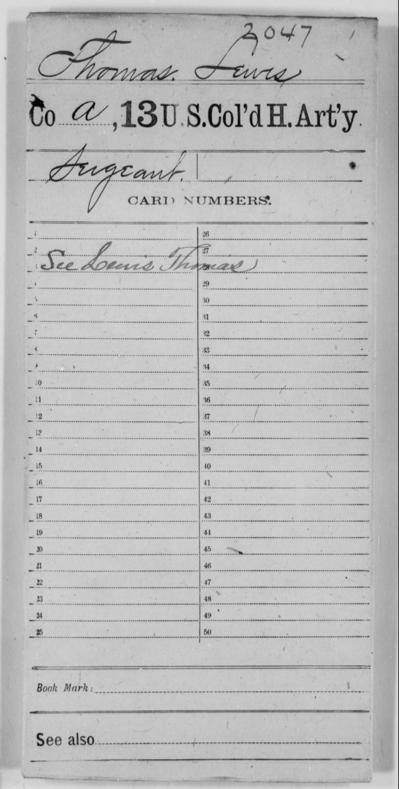 Thomas, Lewis - Age [Blank], Year: [Blank] - 13th US Colored Heavy Artillery - United States Colored Troops: Artillery Organizations