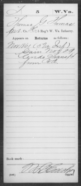 Thomas, Thomas G - Age [Blank], Year: 1861 - Miscellaneous Card Abstracts of Records - West Virginia