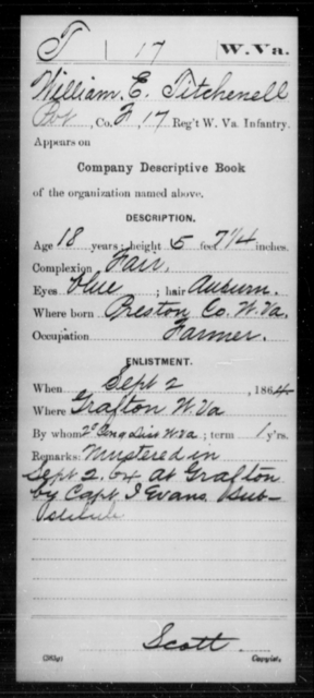 Titchenell, William E - Age 18, Year: 1864 - Miscellaneous Card Abstracts of Records - West Virginia