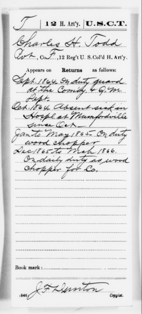 Todd, Charles H - Age [Blank], Year: 1864 - 12th US Colored Heavy Artillery, Misc Cards, H-Y - United States Colored Troops: Artillery Organizations