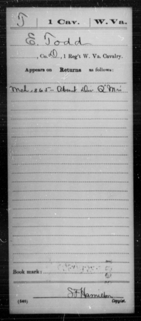 Todd, E - Age [Blank], Year: 1865 - Miscellaneous Card Abstracts of Records - West Virginia