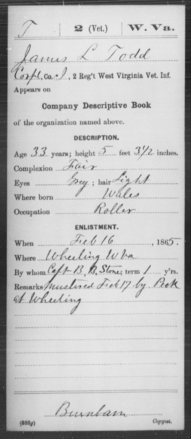 Todd, James L - Age 33, Year: 1865 - Miscellaneous Card Abstracts of Records - West Virginia