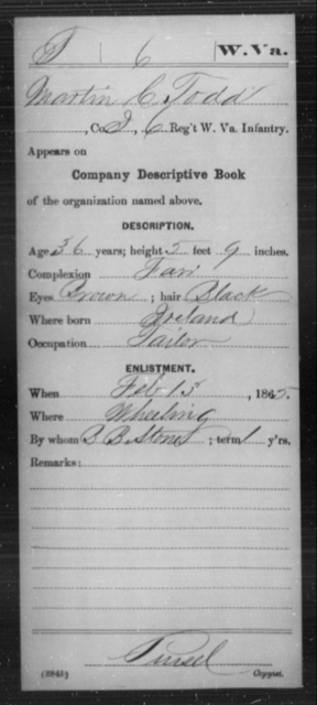 Todd, Martin C - Age 36, Year: 1865 - Miscellaneous Card Abstracts of Records - West Virginia