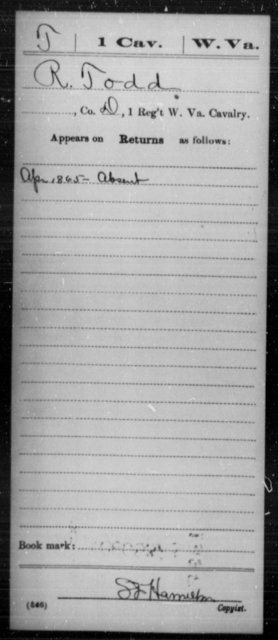 Todd, R - Age [Blank], Year: 1865 - Miscellaneous Card Abstracts of Records - West Virginia