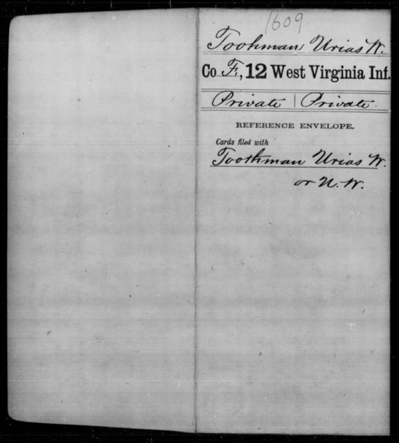 Toohman, Urias W - Age [Blank], Year: [Blank] - Twelfth Infantry - West Virginia