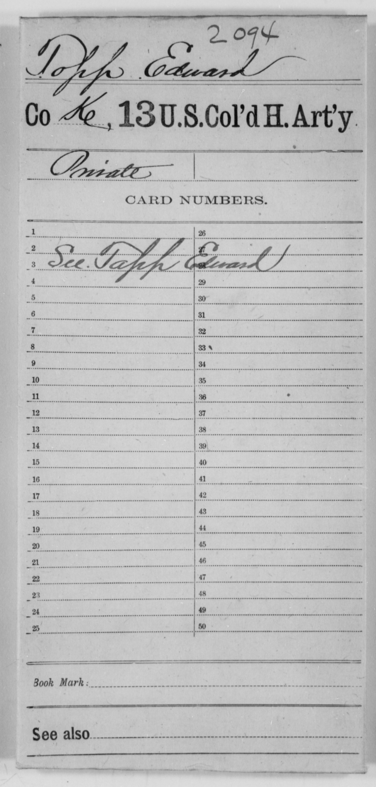 Topp, Edward - Age [Blank], Year: [Blank] - 13th US Colored Heavy Artillery - United States Colored Troops: Artillery Organizations