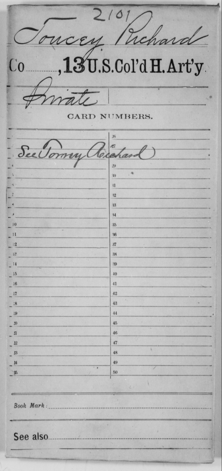 Toucey, Richard - Age [Blank], Year: [Blank] - 13th US Colored Heavy Artillery - United States Colored Troops: Artillery Organizations