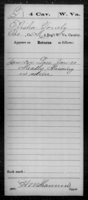 Touely, Elisha - Age [Blank], Year: 1864 - Miscellaneous Card Abstracts of Records - West Virginia