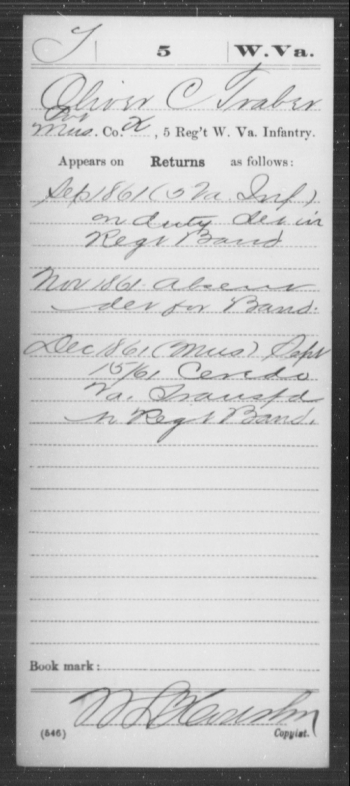 Traber, Oliver C - Age [Blank], Year: 1861 - Miscellaneous Card Abstracts of Records - West Virginia