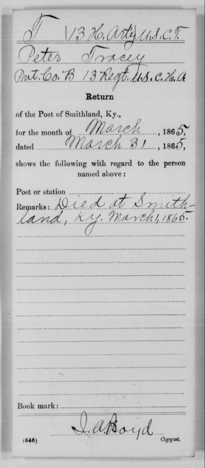 Tracey, Peter - Age [Blank], Year: 1865 - 13th US Colored Heavy Artillery, Misc Cards - United States Colored Troops: Artillery Organizations