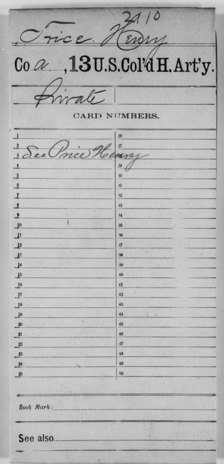 Trice, Henry - Age [Blank], Year: [Blank] - 13th US Colored Heavy Artillery - United States Colored Troops: Artillery Organizations