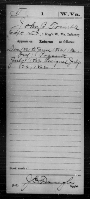 Trimble, John B - Age [Blank], Year: 1861 - Miscellaneous Card Abstracts of Records - West Virginia