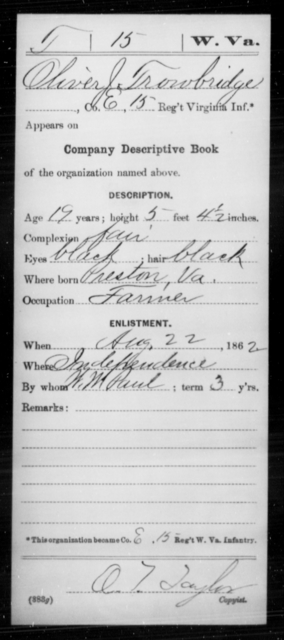 Trowbridge, Oliver J - Age 19, Year: 1862 - Miscellaneous Card Abstracts of Records - West Virginia