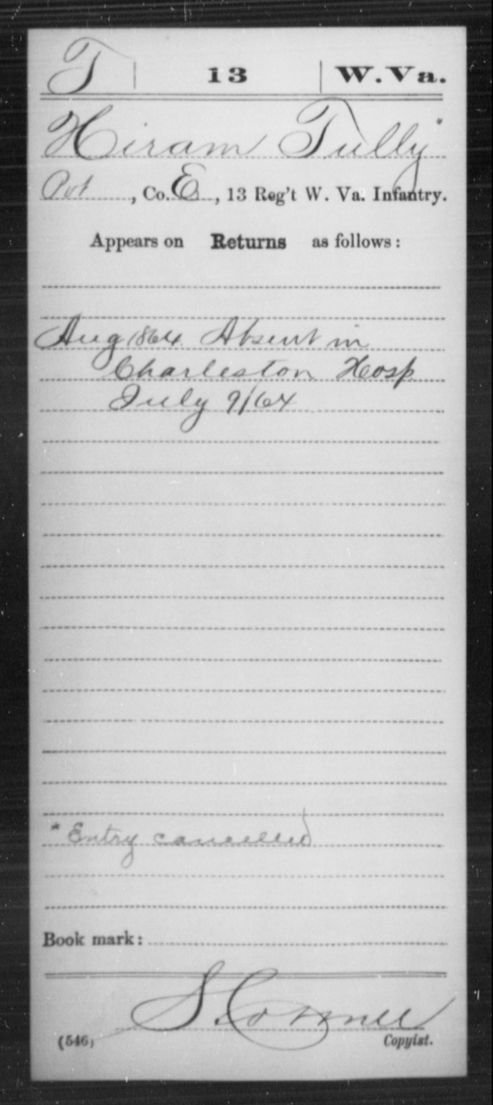 Tully, Hiram - Age [Blank], Year: 1864 - Miscellaneous Card Abstracts of Records - West Virginia